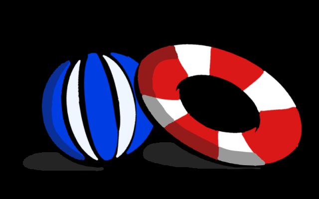 和風のうきわとビーチボールのイラスト 無料イラスト素材素材ラボ