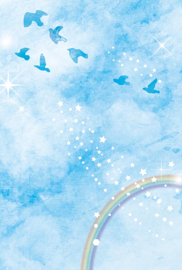 青空に羽ばたく鳥と虹のイラスト 無料イラスト素材素材ラボ