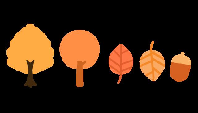 紅葉の木と枯れ葉のラインイラスト 無料イラスト素材素材ラボ