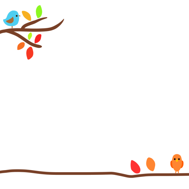 小鳥の秋フレームのイラスト 無料イラスト素材 素材ラボ