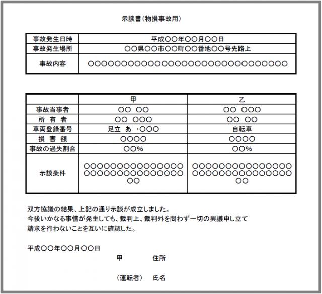 無料イラスト素材:示談書3(物損事故)の雛形テンプレート