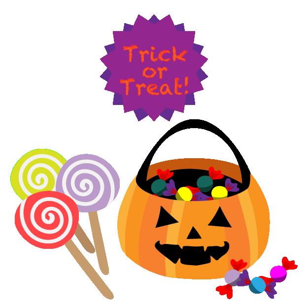 かぼちゃに入ったお菓子とアメのハロウィンイラスト 無料イラスト素材
