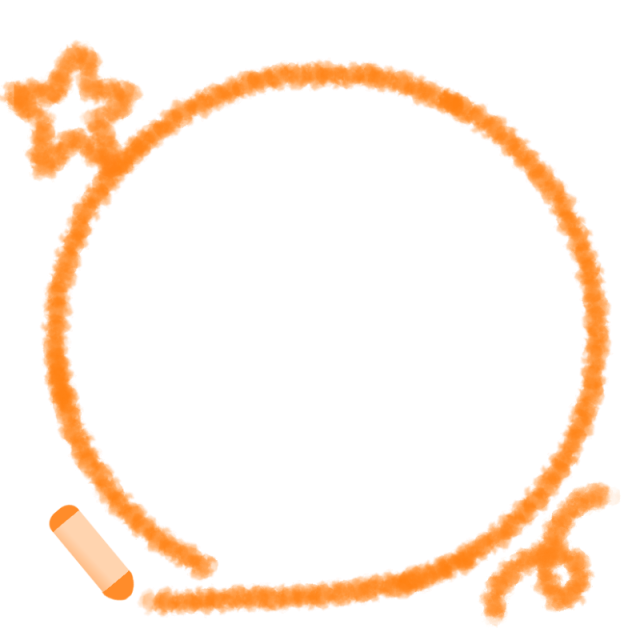 オレンジ色クレヨン風フレームのイラスト 無料イラスト素材素材ラボ