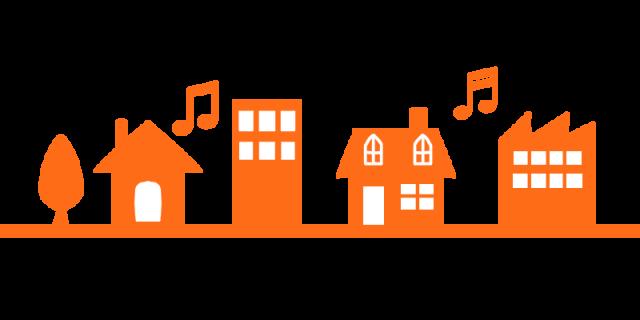 家や建物音符ラインのイラスト 無料イラスト素材素材ラボ