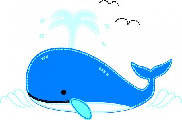 クジラのアップリケ 無料イラスト素材素材ラボ