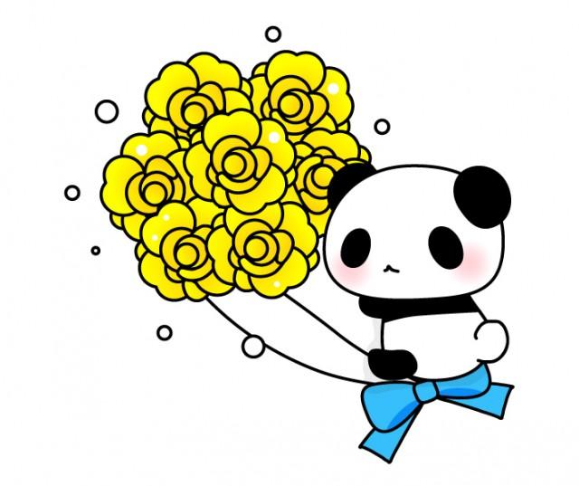 黄色いバラを持ったパンダちゃんイラスト父の日 無料イラスト素材