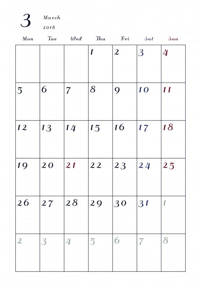 2018年カレンダー 3月 縦 月曜始まり