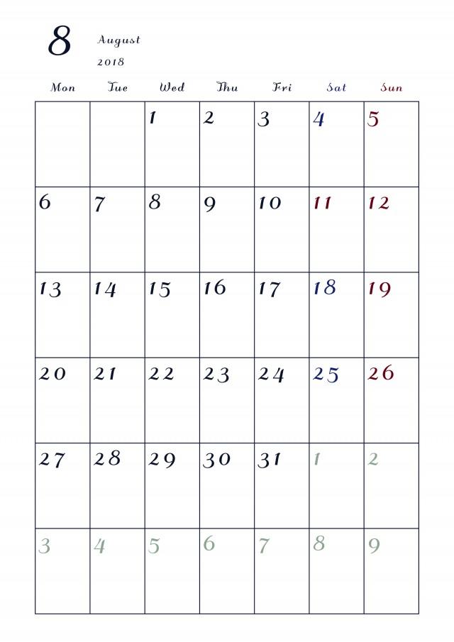 2018年カレンダー 8月 縦 月曜始まり