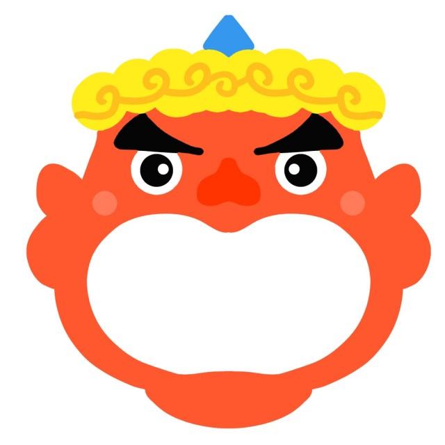 節分の赤鬼が口を大きく開けているフレーム 無料イラスト素材素材ラボ