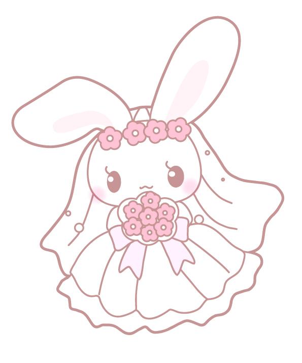 ウェディングドレスを着た花嫁うさぎ