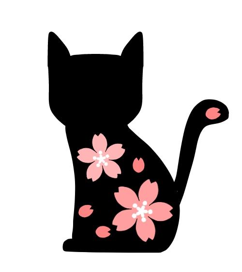 桜の模様入り猫シルエット 無料イラスト素材素材ラボ