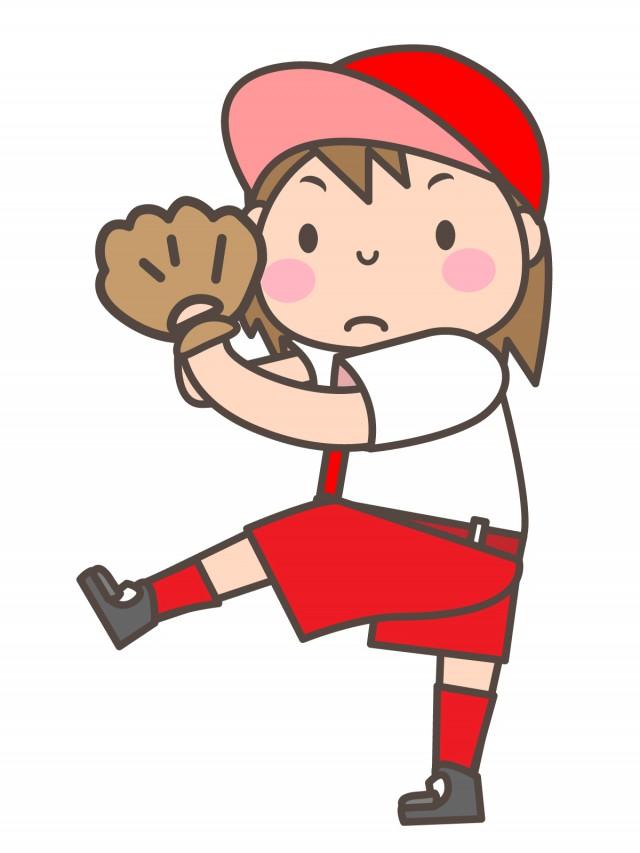 女子ソフトボール部 投球しようとしている部員 無料イラスト素材素材ラボ