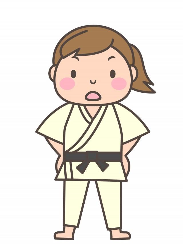 女子柔道部 腰に手をあてる部員 無料イラスト素材素材ラボ