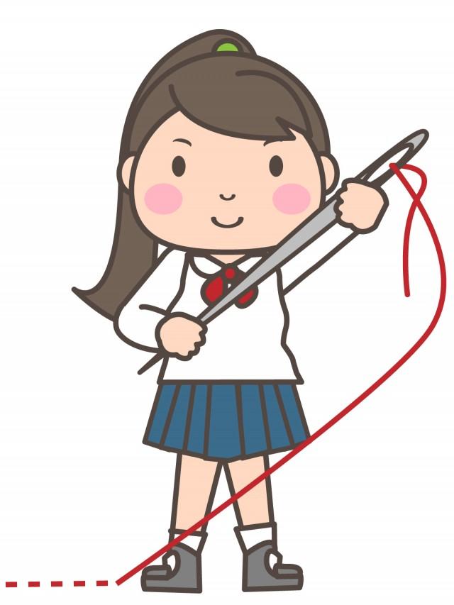 手芸部 大きな縫い針で縫っている女子部員 無料イラスト素材素材ラボ