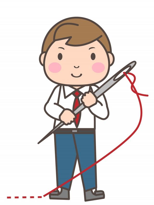 手芸部 大きな縫い針を持つ男子部員 無料イラスト素材素材ラボ