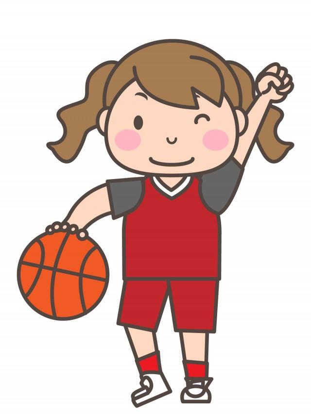 女子バスケ部 ドリブルをしながらこぶしをあげる部員 無料イラスト素材 素材ラボ