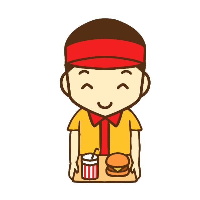 ハンバーガーとドリンクを持ったバーガーショップ店員のイラスト 無料