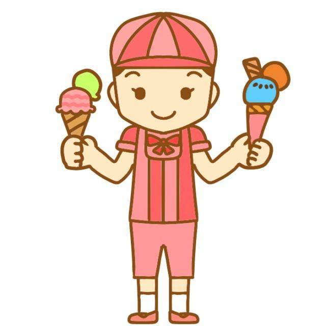 アイスを持ったアイスクリーム屋のイラスト | 無料イラスト素材|素材ラボ