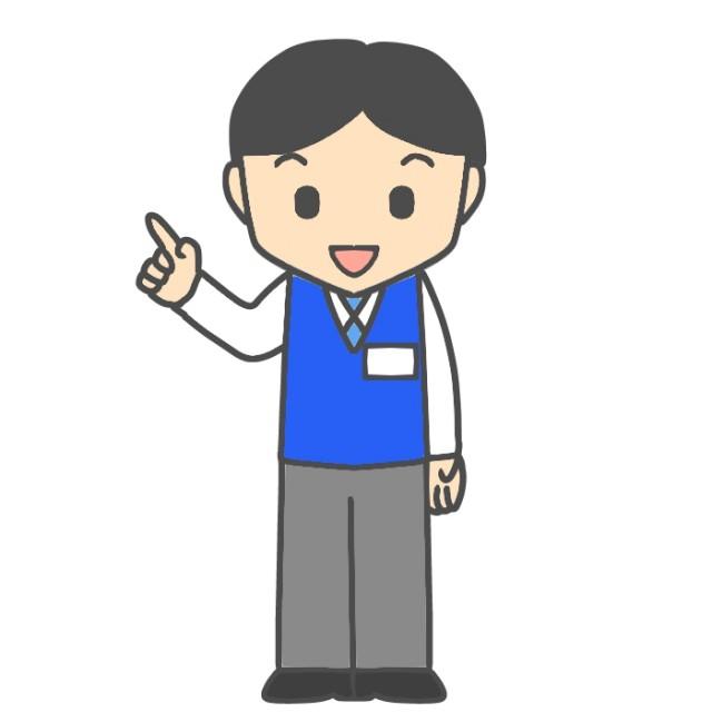 指差しをしている電気店店員のイラスト 無料イラスト素材