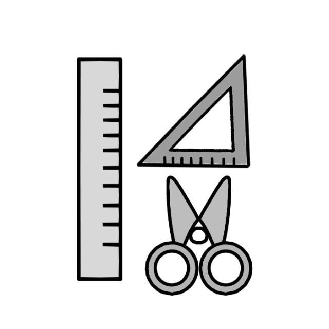 定規やハサミなどの文房具のイラスト 無料イラスト素材 素材ラボ