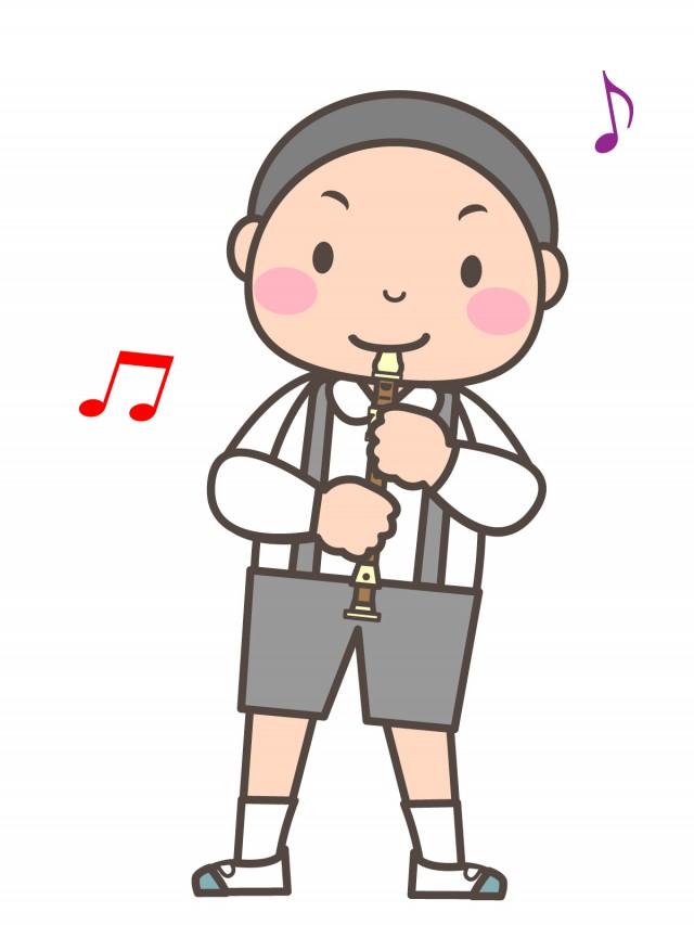 プリント用イラスト ソプラノリコーダーを演奏する男の子 無料イラスト
