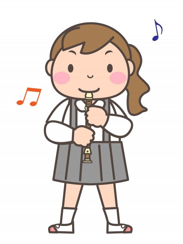 プリント用イラスト ソプラノリコーダーを演奏する女の子 無料イラスト