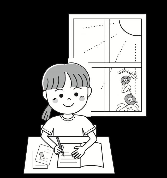 子供の夏 1人で勉強 無料イラスト素材 素材ラボ
