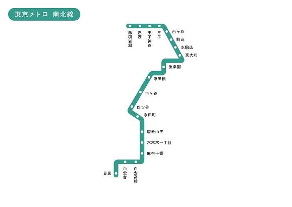 東京都 東京メトロ 南北線 路線図