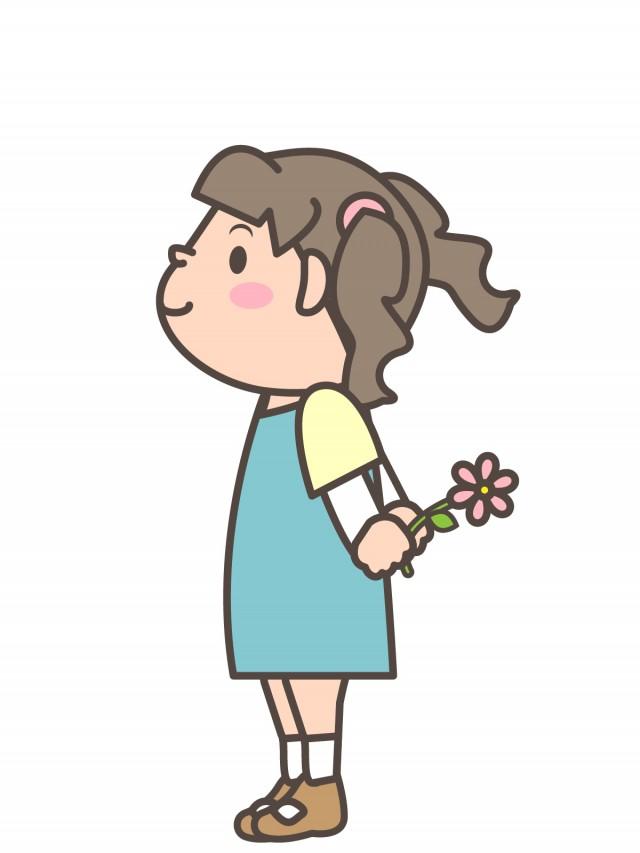 プリント用イラスト 後ろに花を持つツインテールの女の子 無料イラスト