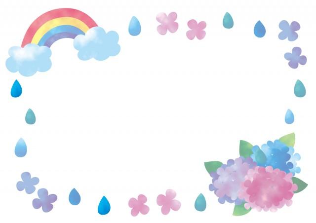 水彩風虹と紫陽花のフレーム 無料イラスト素材素材ラボ