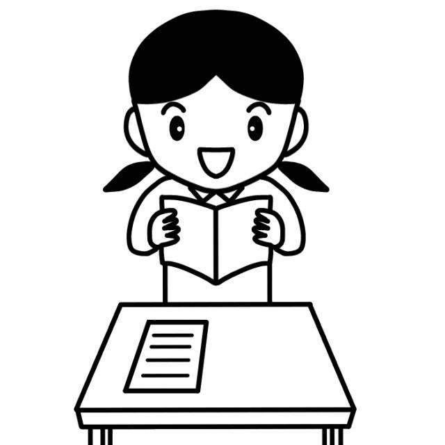 音読をする女児のイラスト 無料イラスト素材素材ラボ