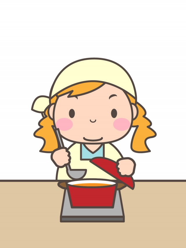 プリント用イラスト 料理する女の子 無料イラスト素材素材ラボ