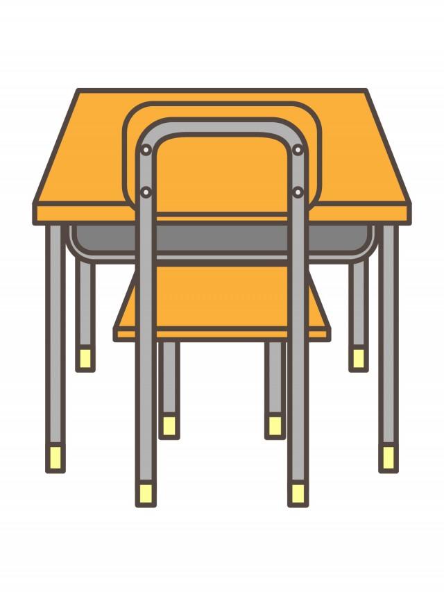 プリント用カラーモノクロ学校の机といす後ろ 無料イラスト