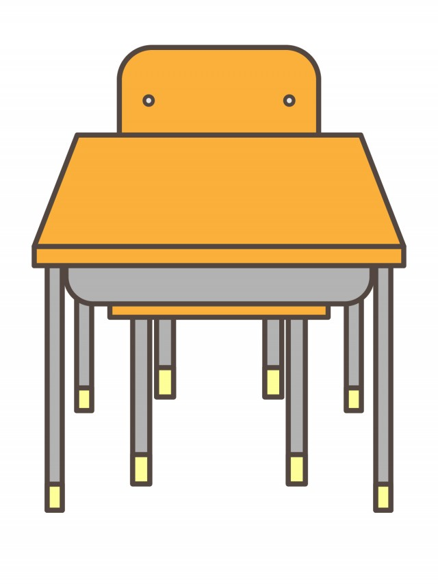 プリント用カラーモノクロ学校の机といす前 無料イラスト素材