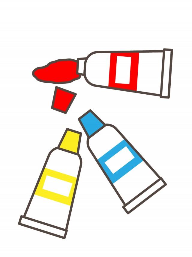 プリントカラーモノクロ3色の絵の具 無料イラスト素材素材ラボ