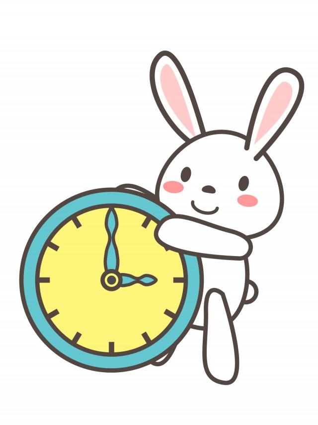 プリントカラーモノクロ3時の時計を持つうさぎ 無料イラスト素材