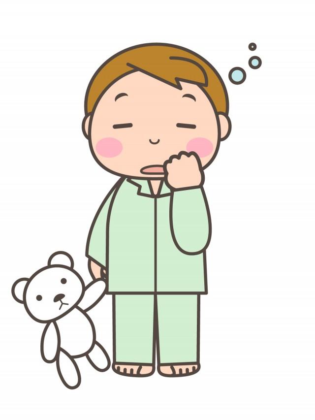 プリントカラーモノクロ眠そうなパジャマを着た男の子 無料