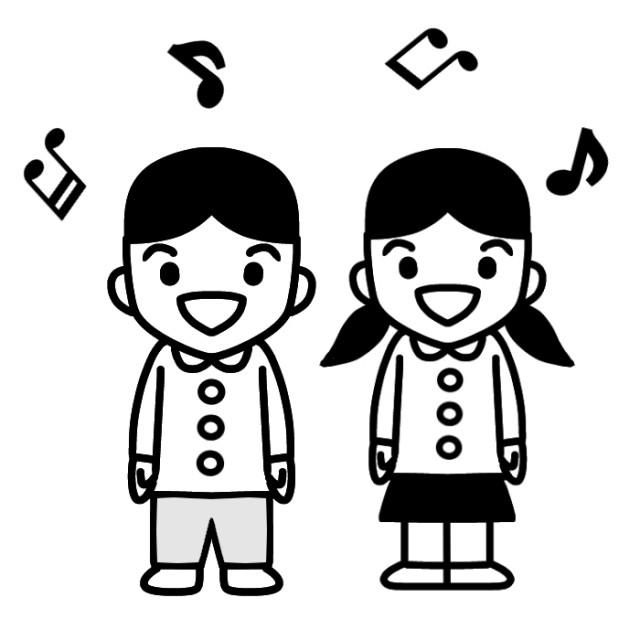 歌を歌う園児2人のイラスト 無料イラスト素材素材ラボ