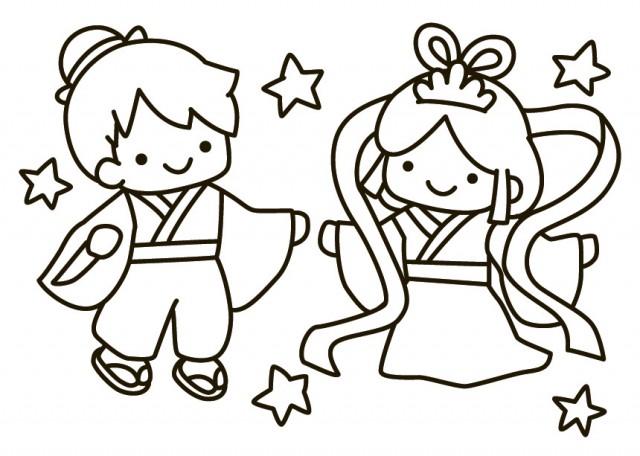 七夕イラスト 織姫と彦星 無料イラスト素材素材ラボ