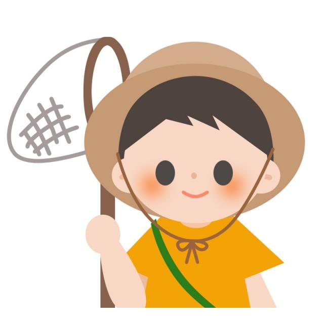 学校プリント用 夏休み 虫取り網を持つ男の子 無料イラスト素材素材ラボ