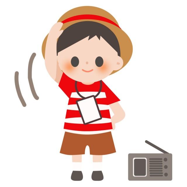学校プリント用 夏休み ラジオ体操をする男の子 無料イラスト素材