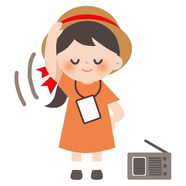 学校プリント用 夏休み ラジオ体操をする女の子 無料イラスト素材