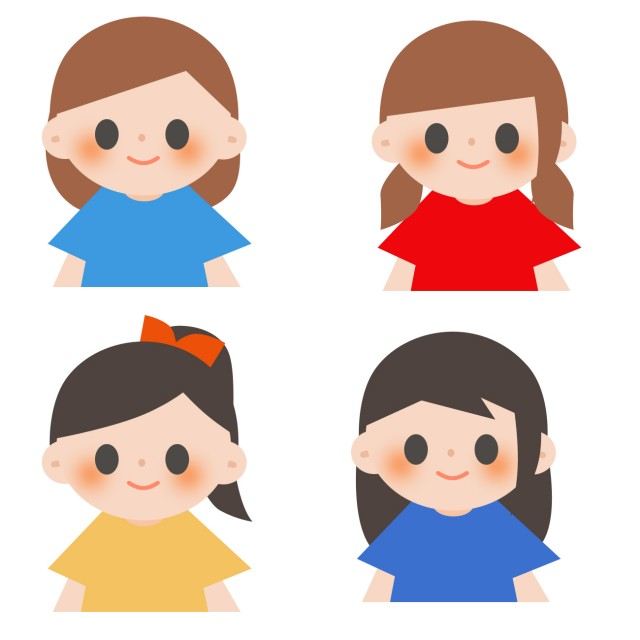 4人の女の子のイラスト 無料イラスト素材素材ラボ