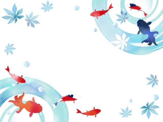 涼しい金魚のフレーム 無料イラスト素材 素材ラボ