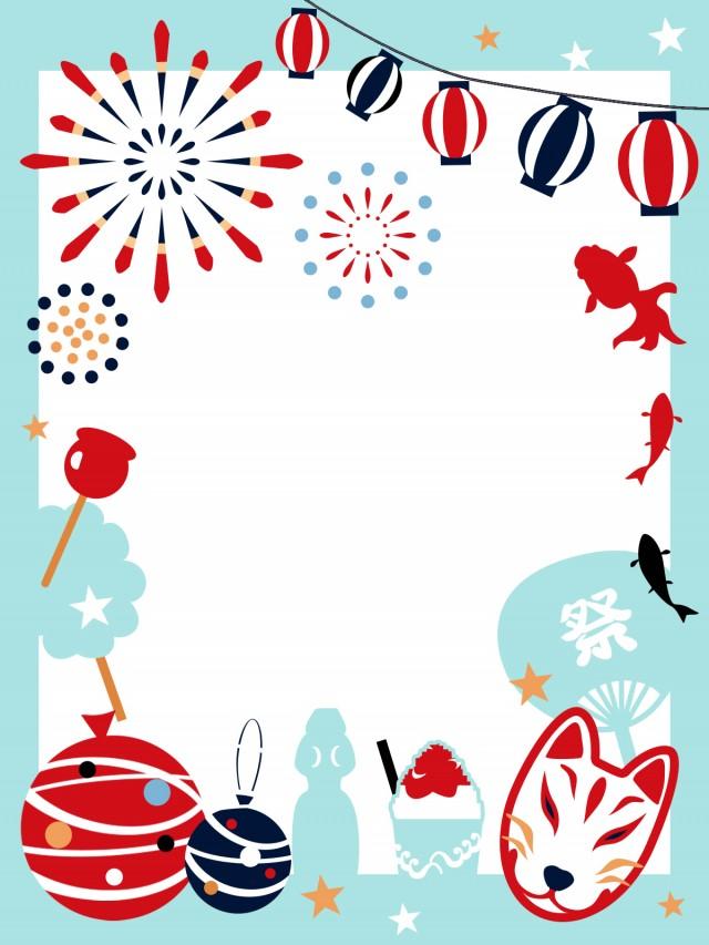 花火と夏祭りのフレーム 無料イラスト素材素材ラボ