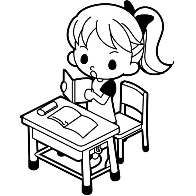 立ち上がって教科書を音読する女の子のイラスト 無料イラスト素材