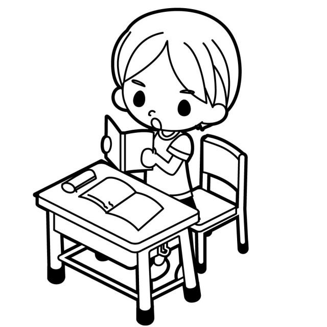 立ち上がって教科書を音読する男の子のイラスト 無料イラスト素材