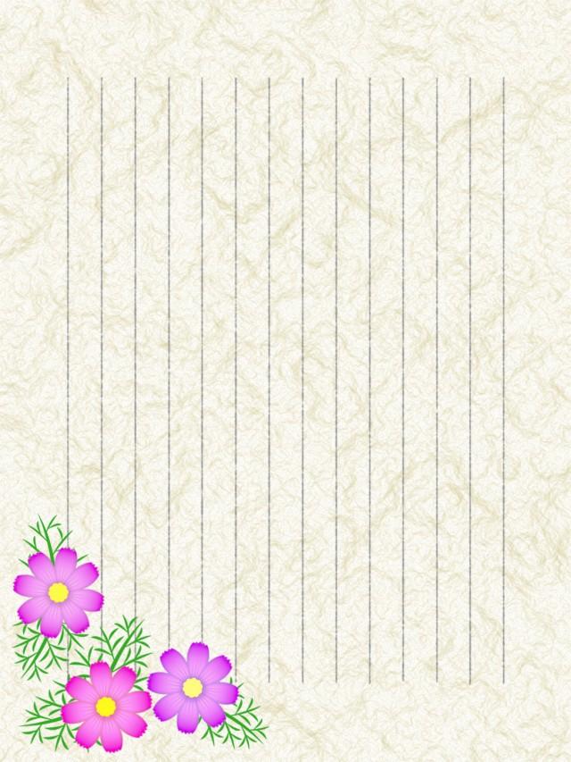 和紙の便箋縦書きコスモスのイラスト背景 無料イラスト素材素材ラボ