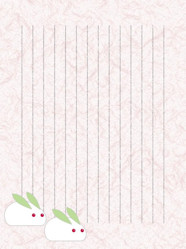 和紙の便箋縦書き雪うさぎのイラスト背景 無料イラスト素材素材ラボ