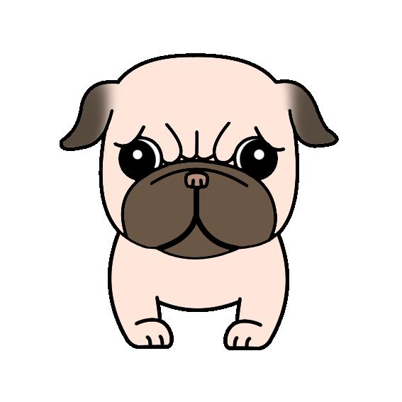 犬 パグ 顔 無料イラスト素材素材ラボ